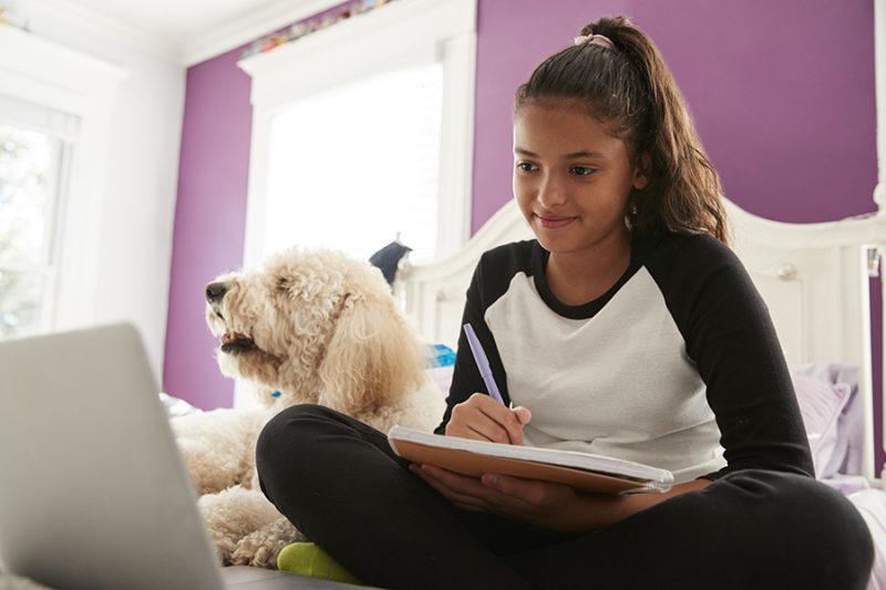 Young hispanic girl studying